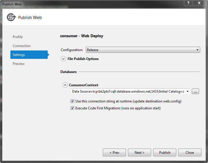 Deploy ASP NET MVC application with Membership to Azure