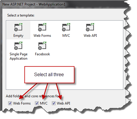 New ASP.NET Web Application dialog in Visual Student 2013